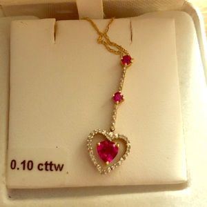 Jewelry - 0.10 Cttw ruby drop heart 10k gold necklace